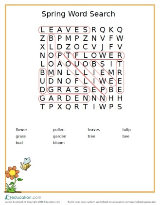Spring Word Search Answers
